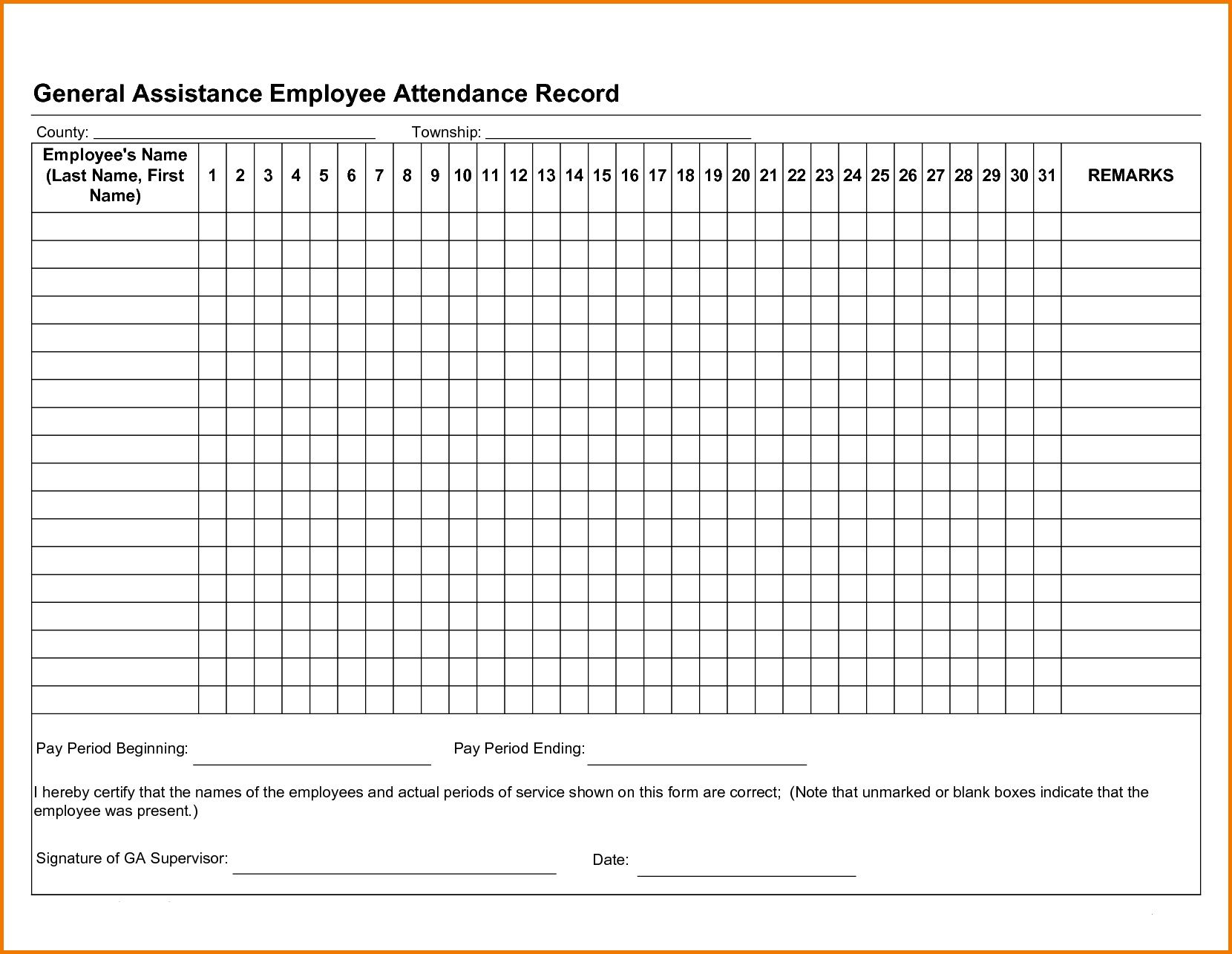 001 Shocking Employee Attendance Record Template Excel Idea  Free Download With TimeFull