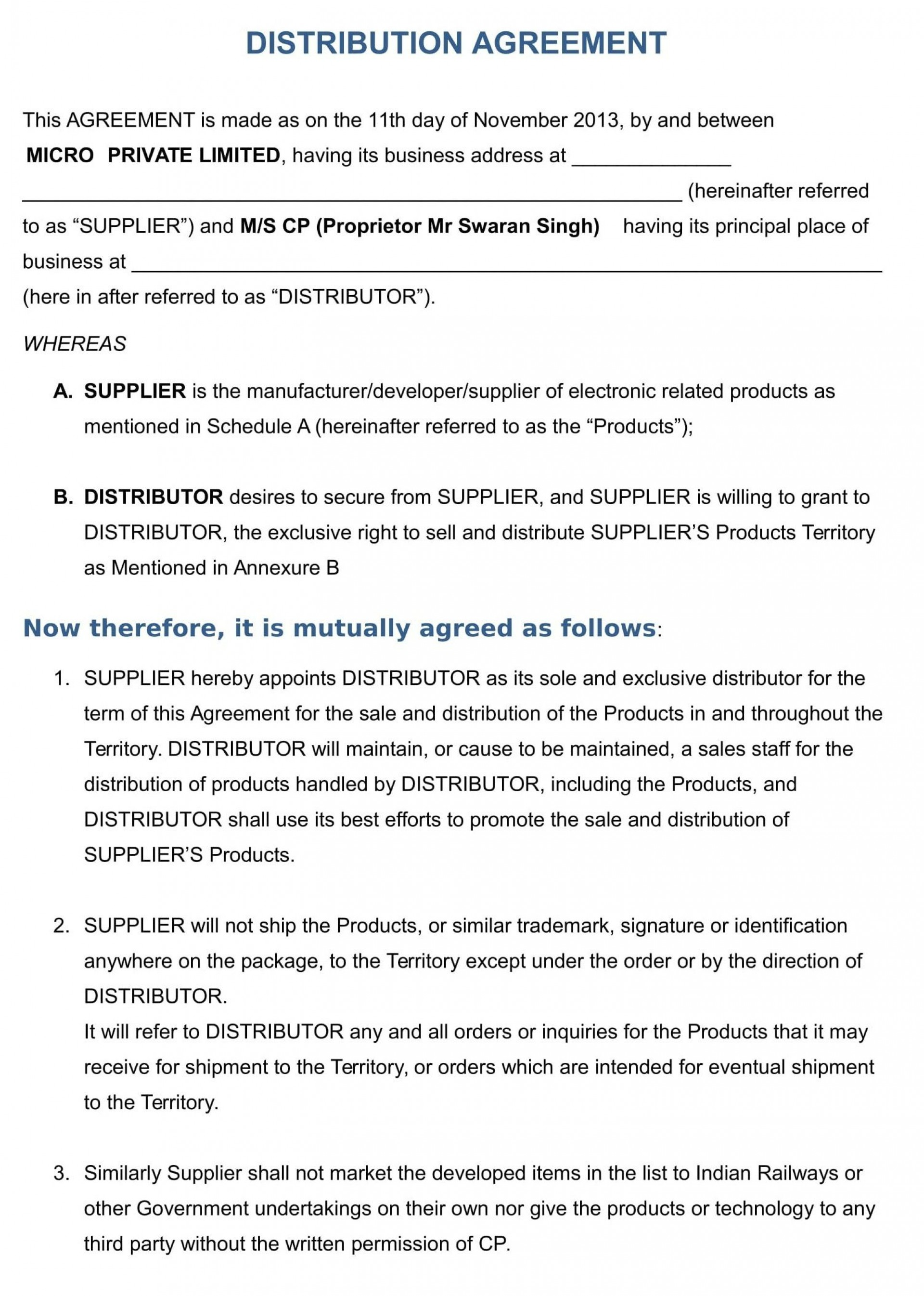 001 Shocking Exclusive Distribution Agreement Template Free Download Highest Quality 1920