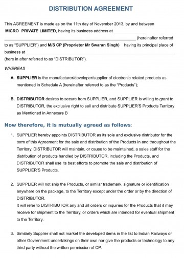 001 Shocking Exclusive Distribution Agreement Template Free Download Highest Quality 360