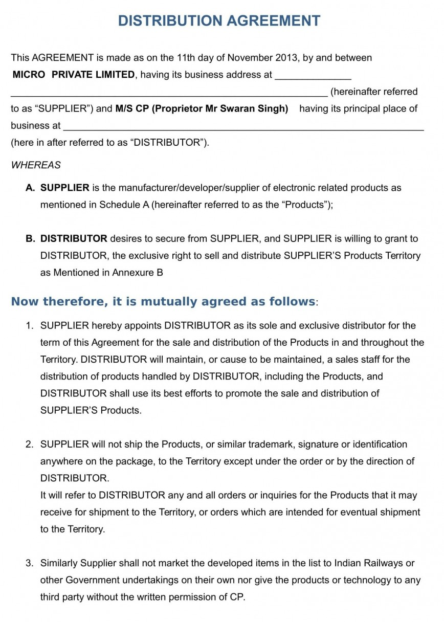001 Shocking Exclusive Distribution Agreement Template Free Download Highest Quality 868