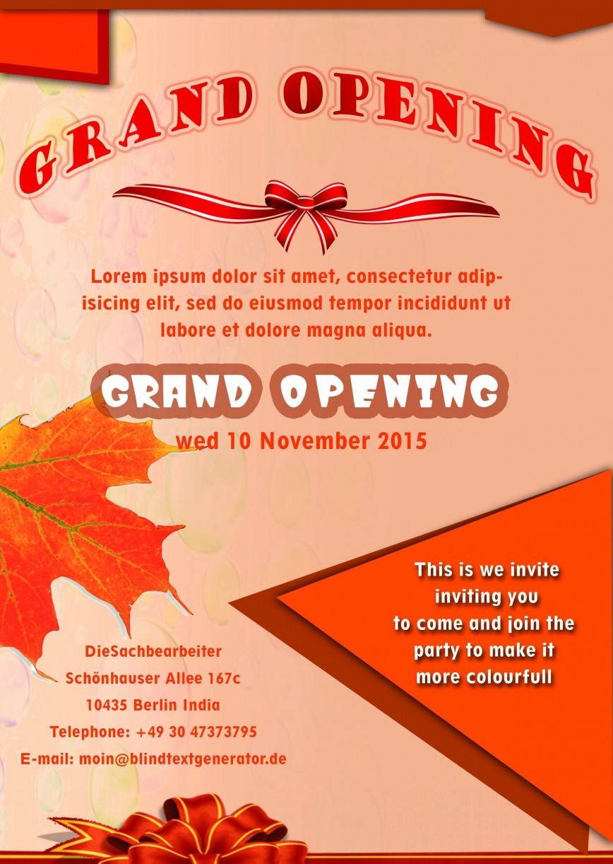 001 Shocking Grand Opening Flyer Template Example  Free Psd Busines868