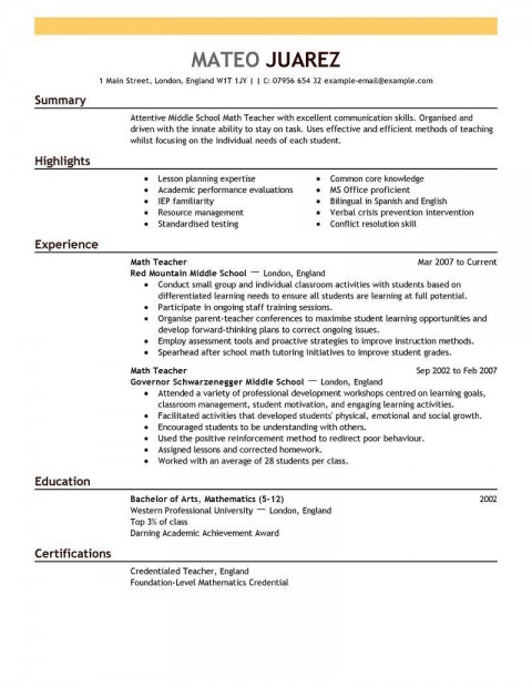001 Shocking Resume Template For Teacher High Definition  Australia Microsoft Word Sample480