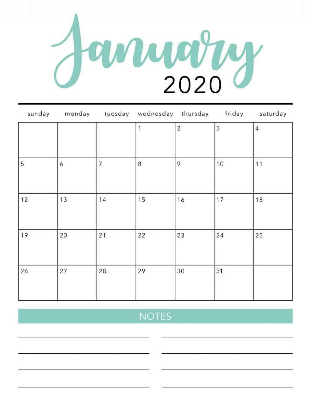 001 Simple 2020 Blank Calendar Template Image  Printable Monthly Word Downloadable With HolidayLarge