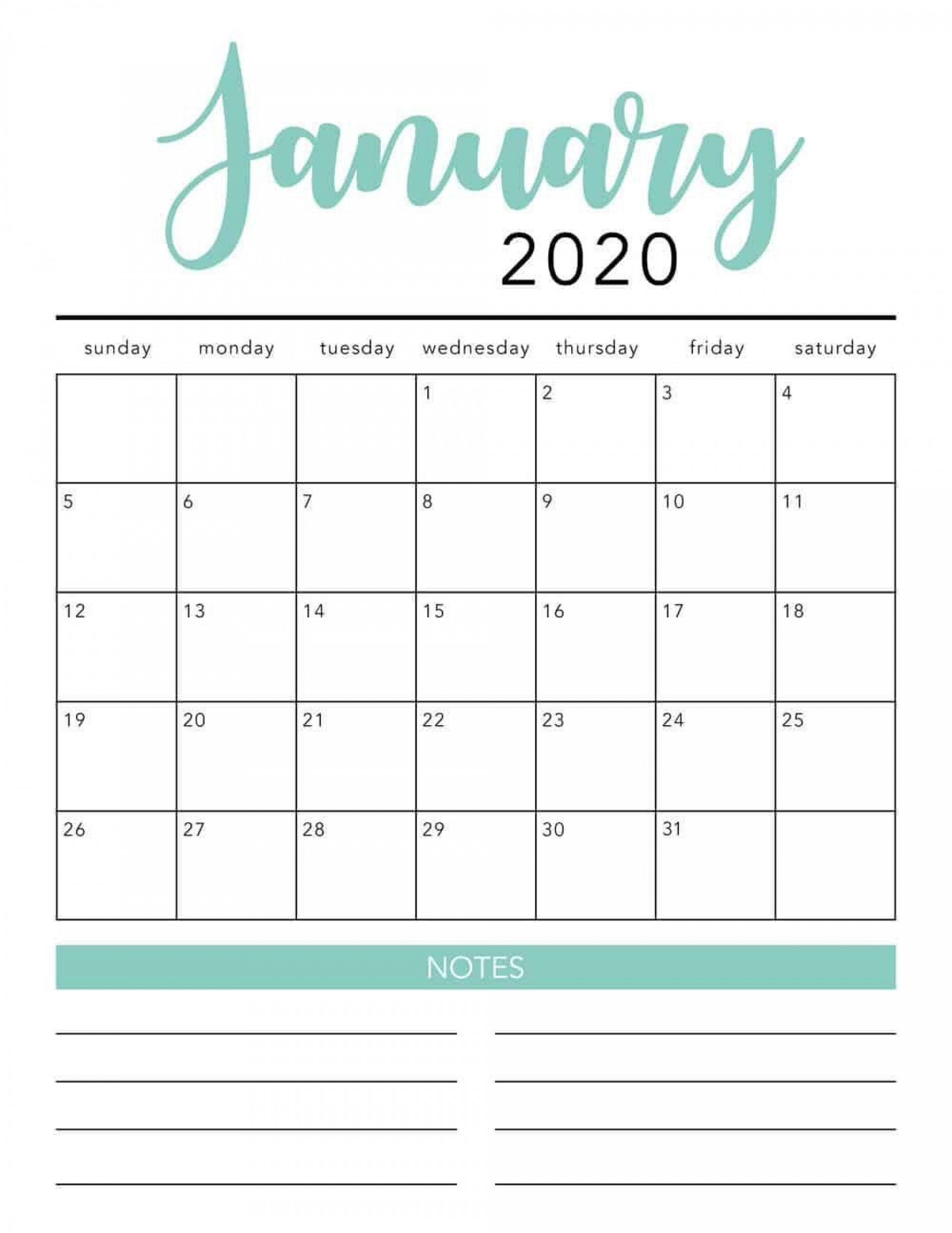 001 Simple 2020 Blank Calendar Template Image  Printable Monthly Word Downloadable With Holiday1920