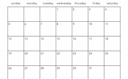 001 Simple 2020 Blank Calendar Template Image  Printable Monthly Word Downloadable With Holiday