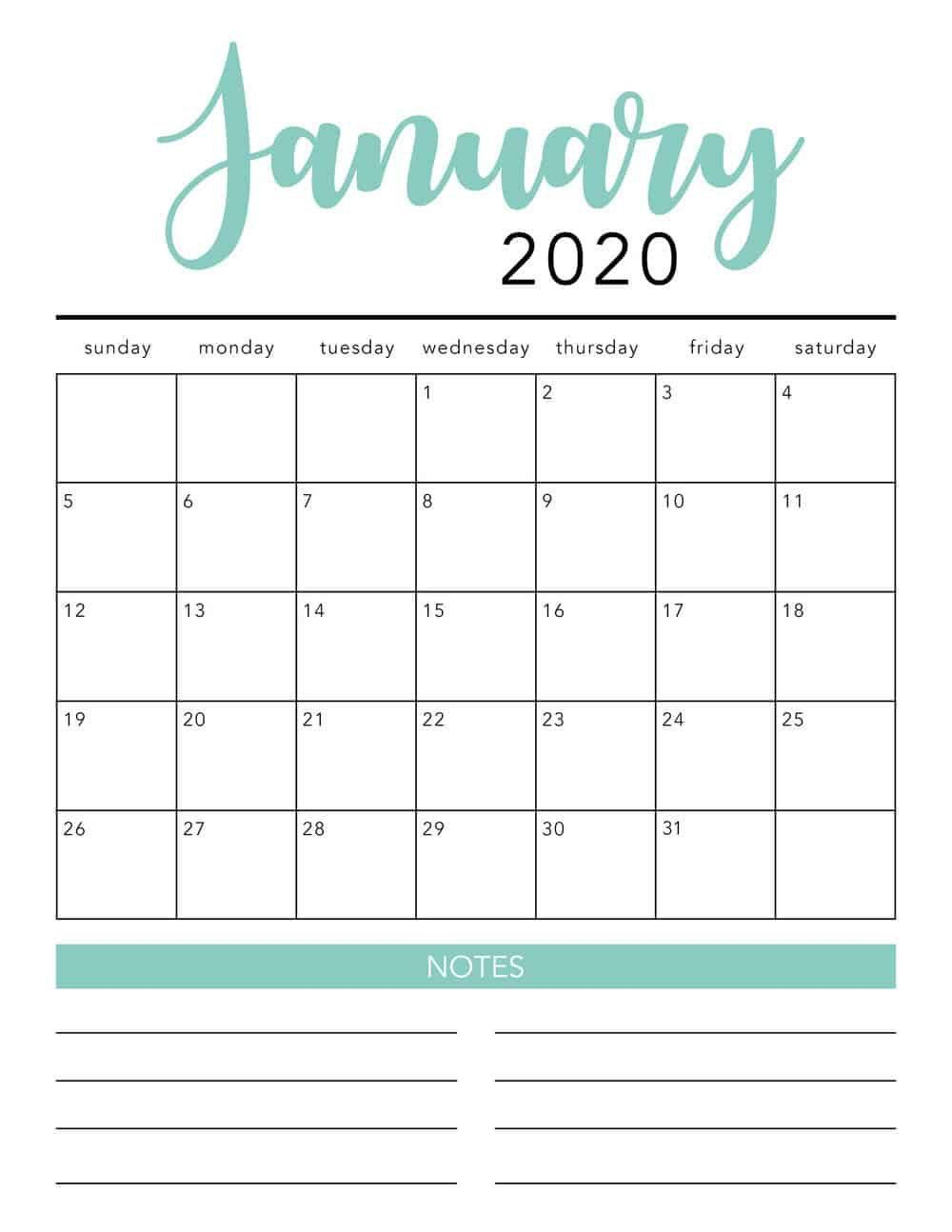 001 Simple 2020 Blank Calendar Template Image  Printable Monthly Word Downloadable With HolidayFull