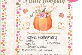 001 Simple Baby Shower Invitation Girl Pumpkin Example  Pink Little