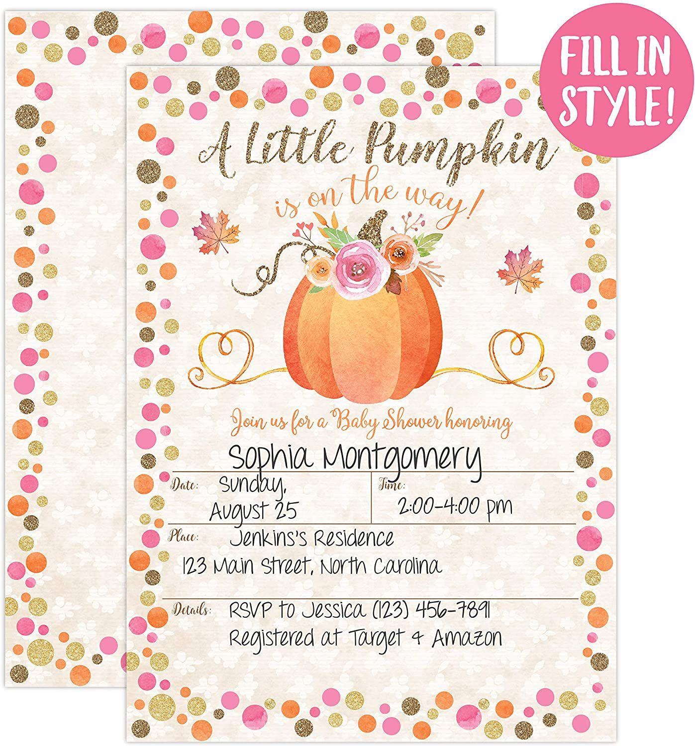 001 Simple Baby Shower Invitation Girl Pumpkin Example  LittleFull