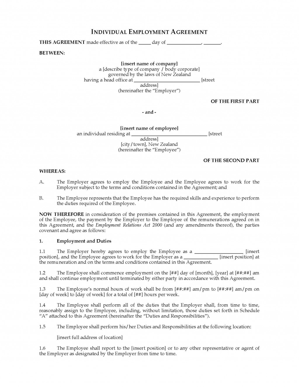 001 Simple Basic Employment Contract Template Free Nz Image Large
