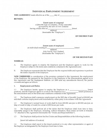 001 Simple Basic Employment Contract Template Free Nz Image 360