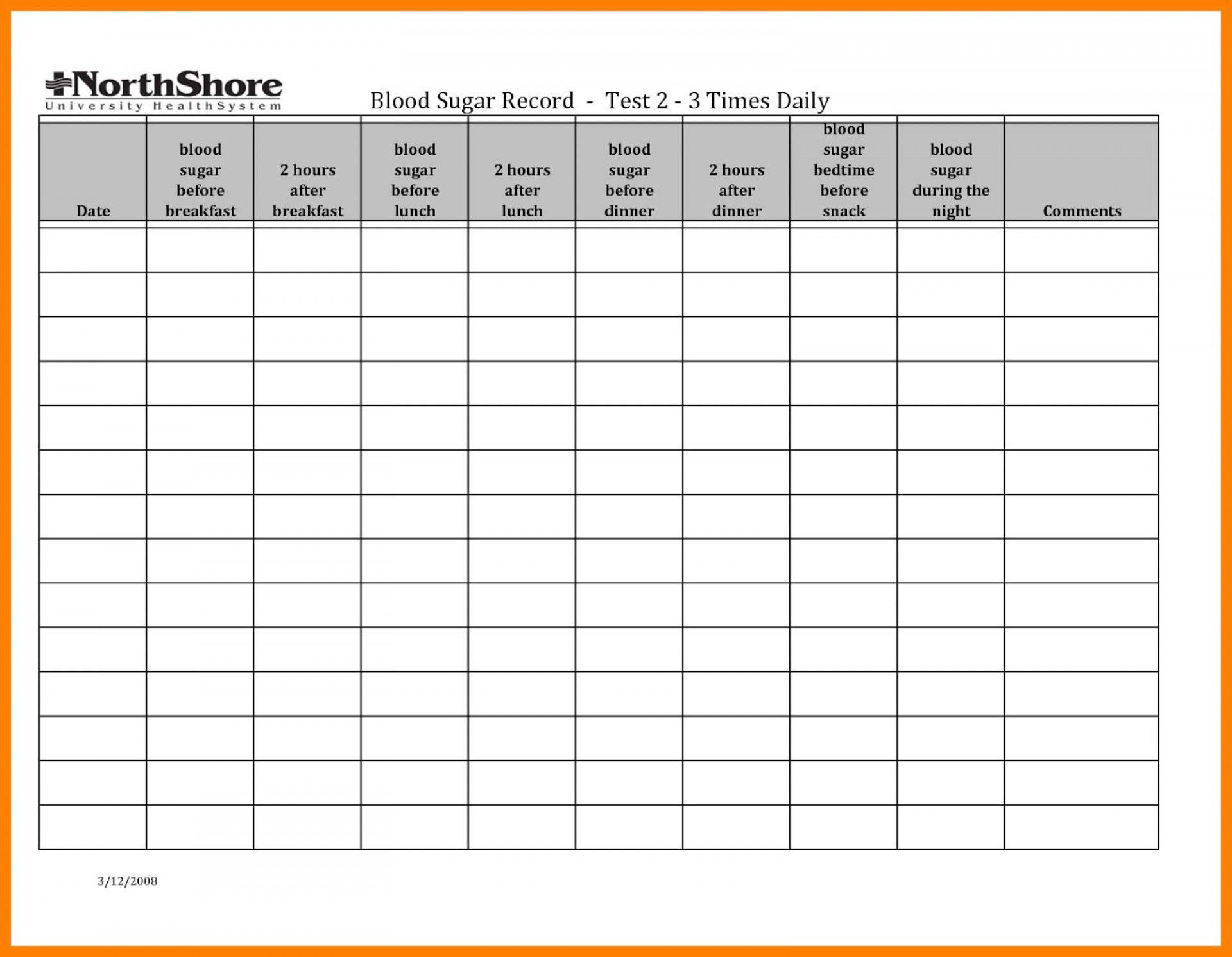 001 Simple Blood Glucose Spreadsheet Template Idea  Tracking