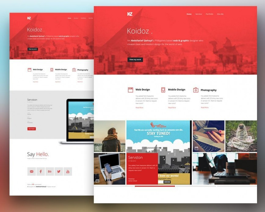 001 Simple Creative One Page Website Template Free Download Inspiration
