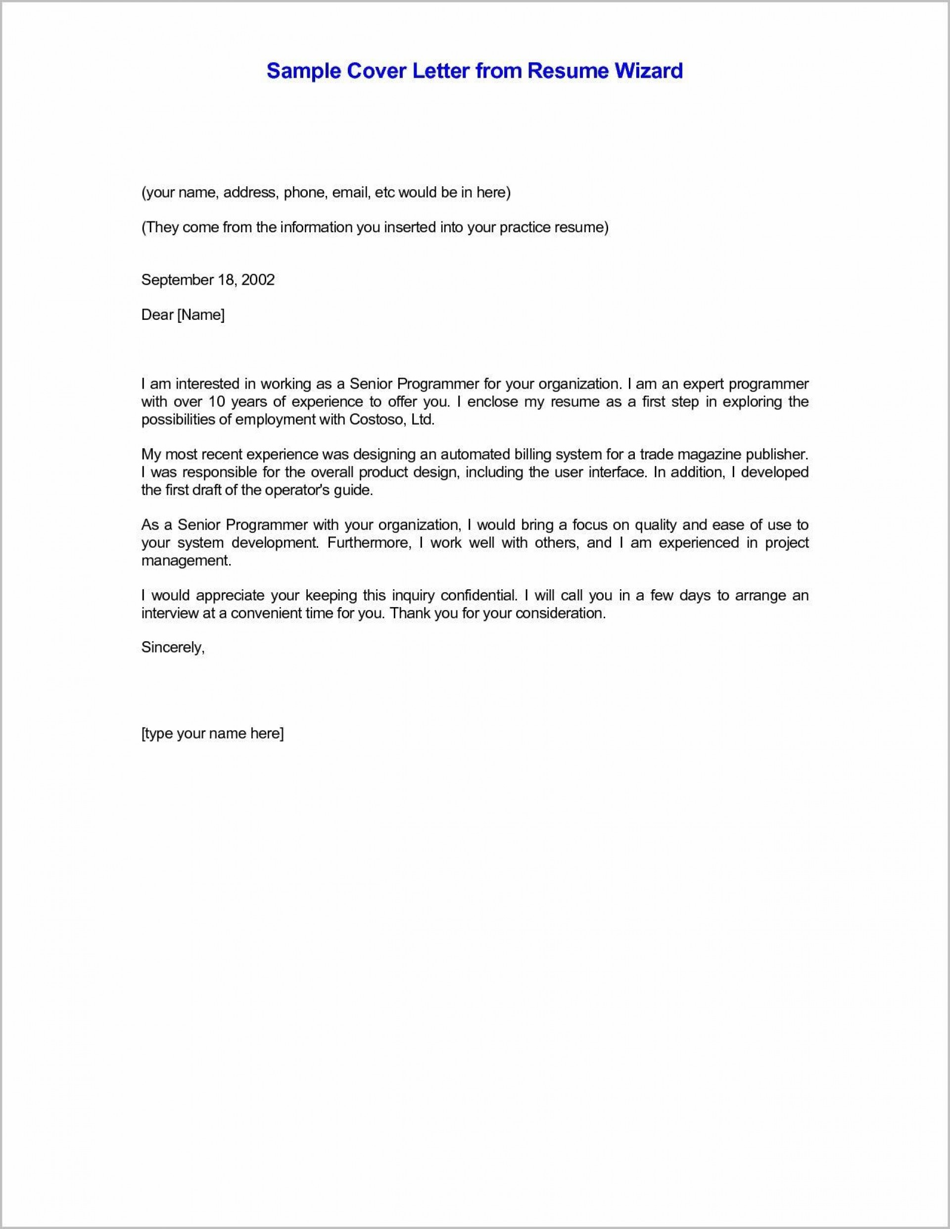 001 Simple Email Cover Letter Example For Resume Concept  Sample Through Attached1920