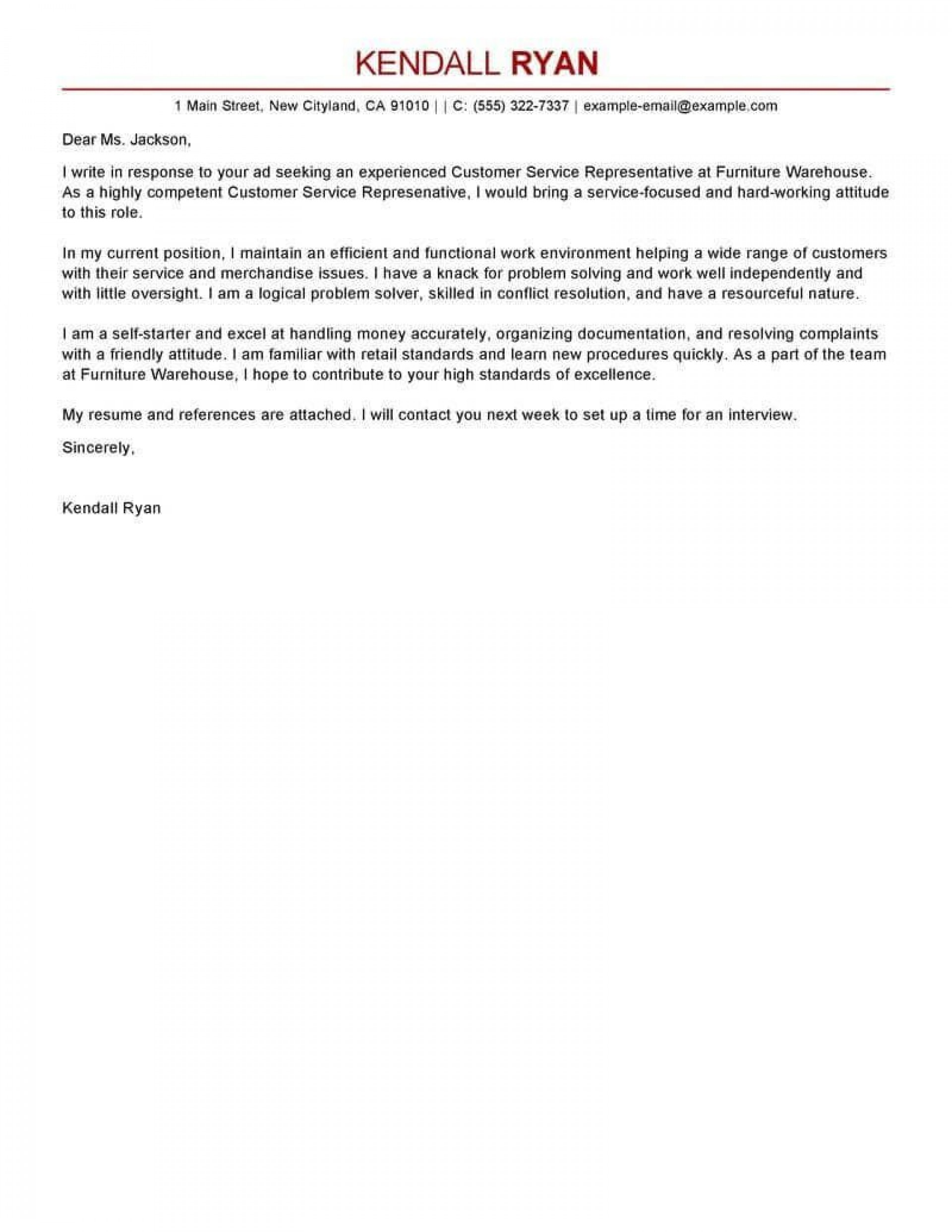 001 Simple Email Cover Letter Example For Customer Service High Resolution  Sample Representative1920