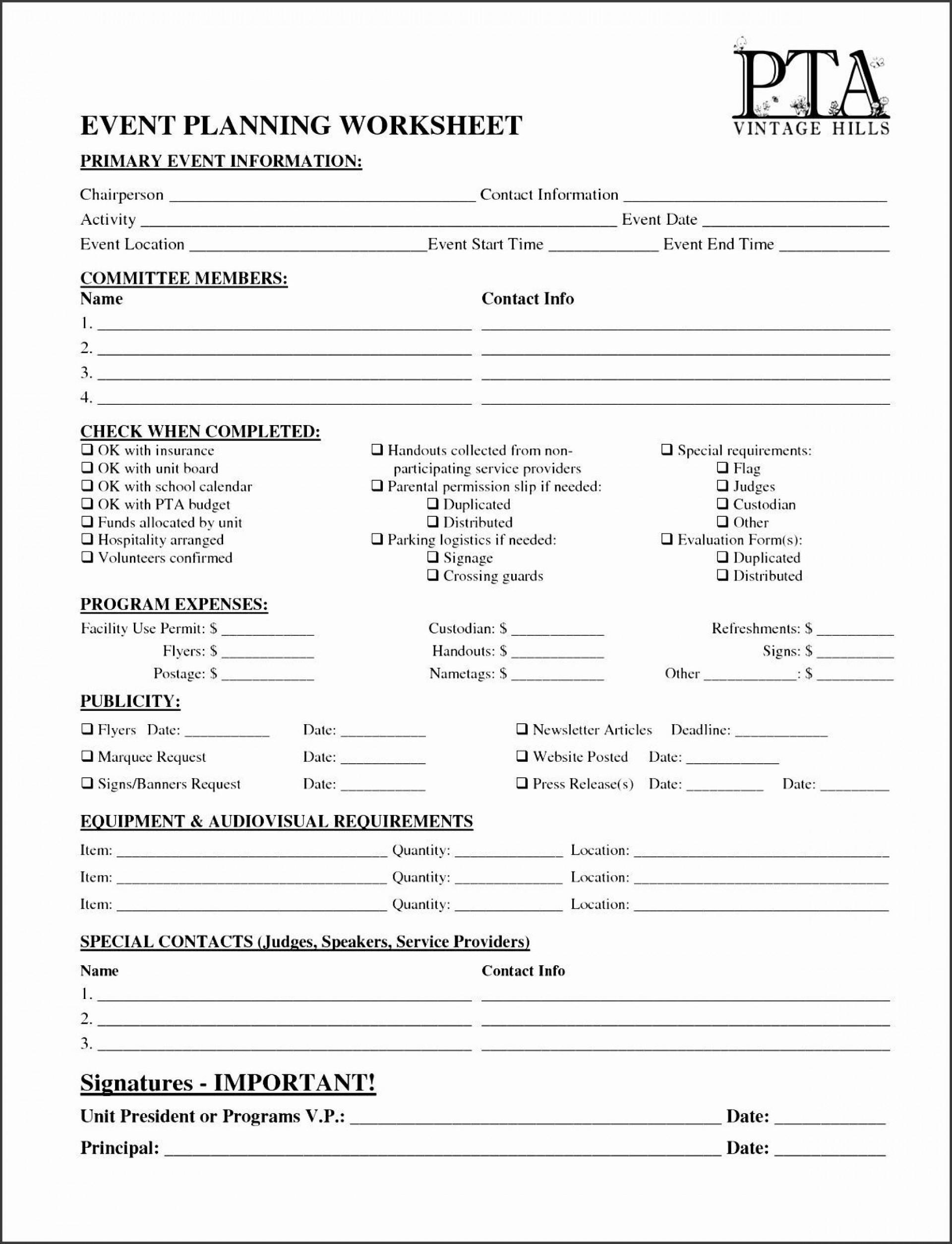 001 Simple Event Planning Worksheet Template Sample  Planner Checklist Budget1920
