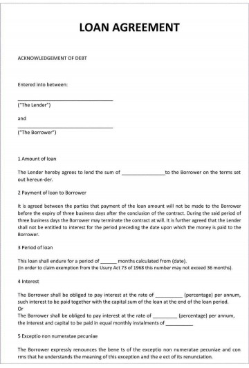 001 Simple Family Loan Agreement Template Uk Free High Definition 360