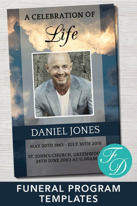 001 Simple Free Celebration Of Life Program Template Download Example 480