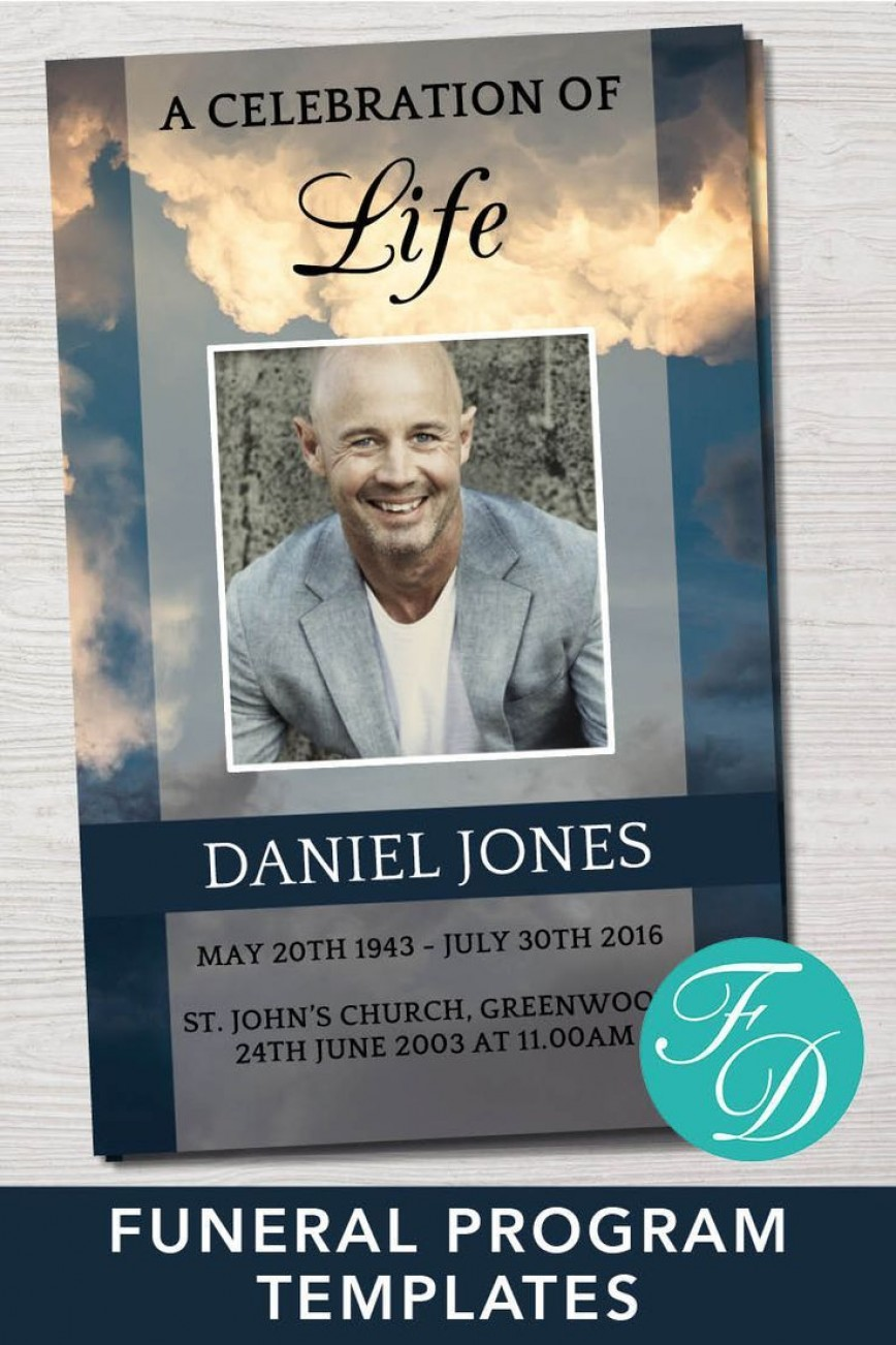 001 Simple Free Celebration Of Life Program Template Download Example 868