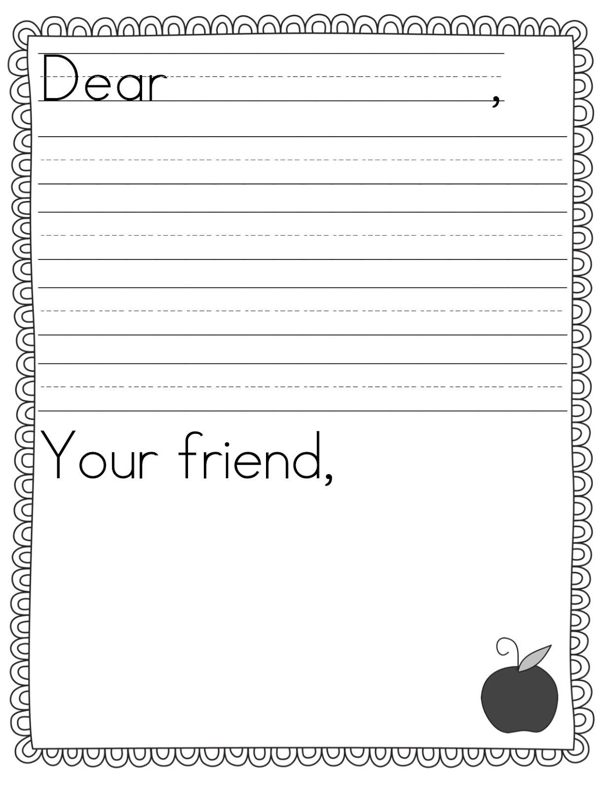 001 Simple Free Letter Writing Template 2nd Grade Image Full