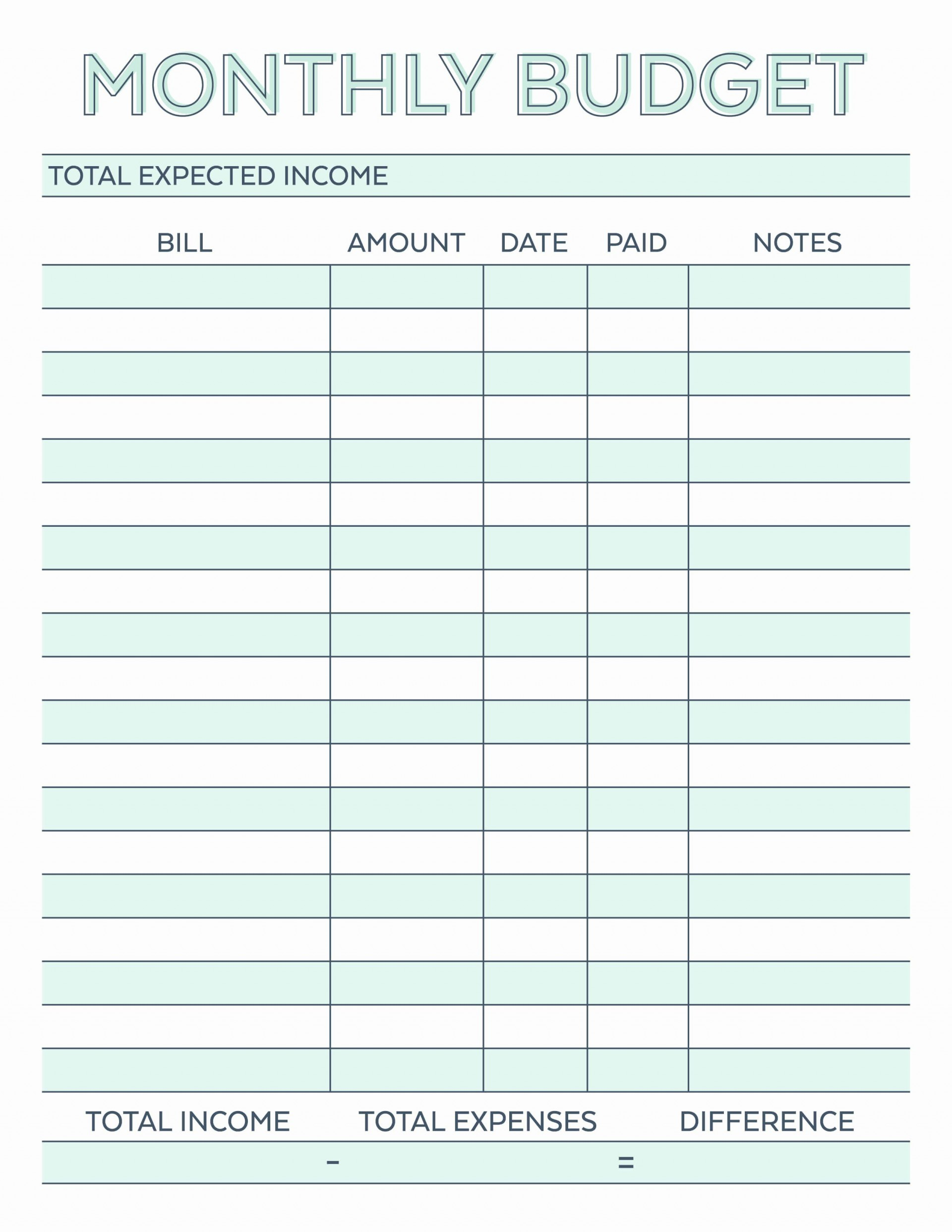 001 Simple Free Printable Blank Monthly Budget Sheet Example  Sheets Worksheet Template1920