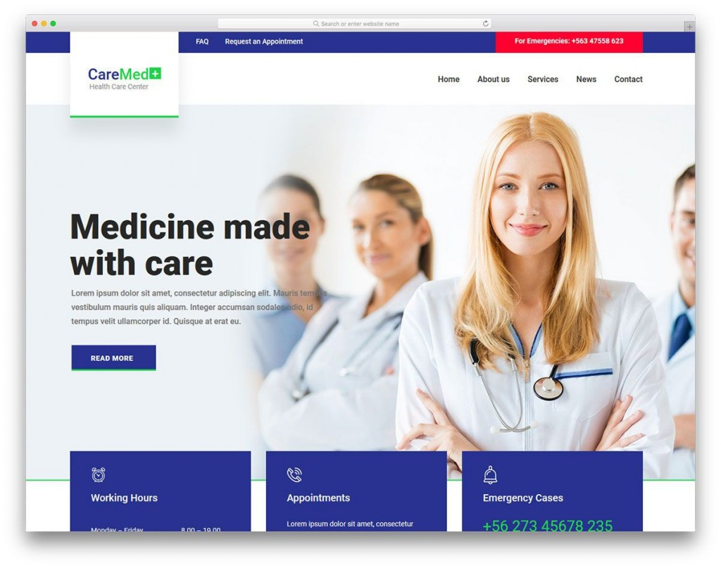 001 Simple Free Website Template Download Html And Cs Jquery For Hospital Highest Quality Large