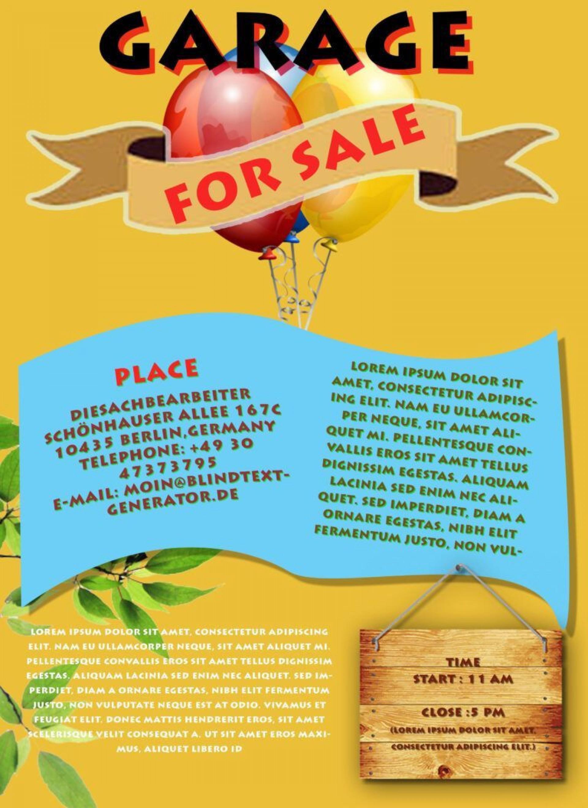 001 Simple Garage Sale Flyer Template Free Picture  Community Neighborhood Yard1920