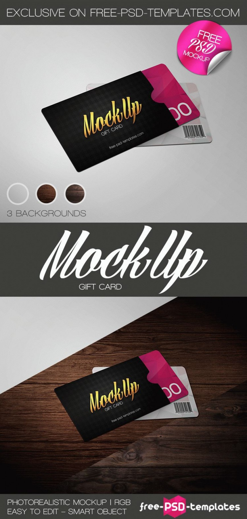 001 Simple Gift Card Template Psd Image  Photoshop Free Christma