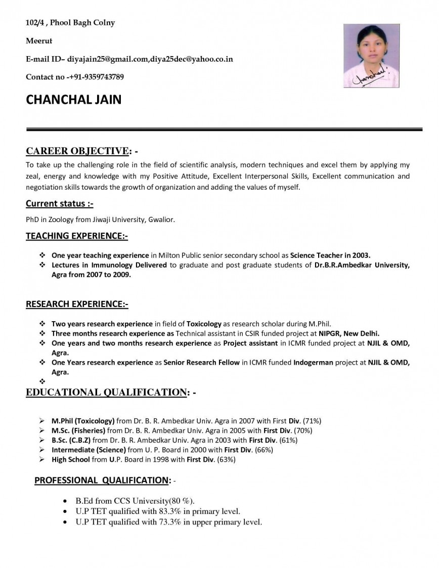 001 Simple Good Resume For Teaching Job High Resolution  Sample With Experience Pdf Fresher In India868