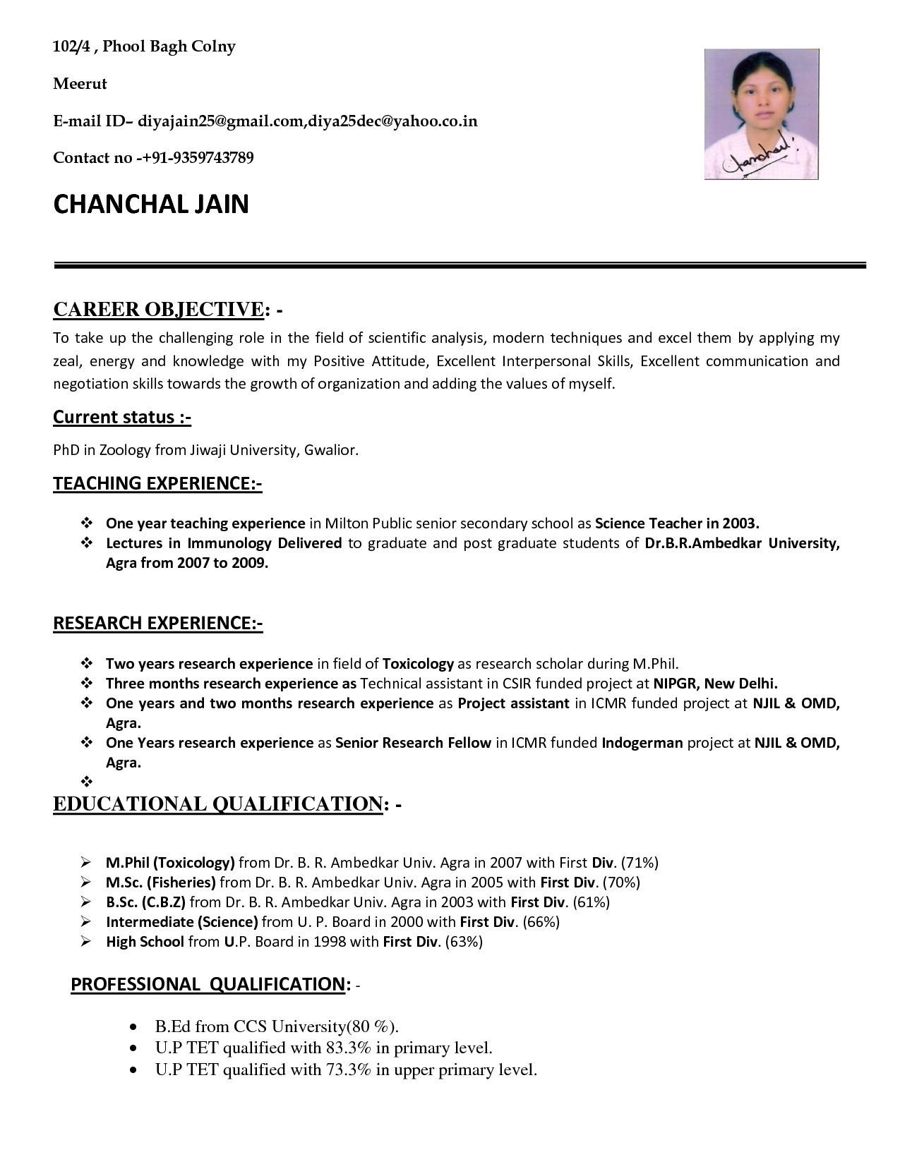 001 Simple Good Resume For Teaching Job High Resolution  Sample With Experience Pdf Fresher In India