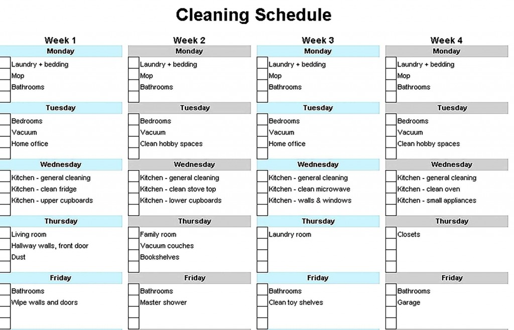 001 Simple House Cleaning Schedule Template Excel Highest Quality Large