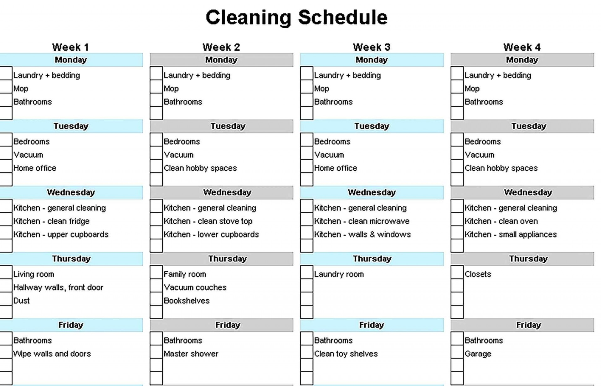001 Simple House Cleaning Schedule Template Excel Highest Quality 1920