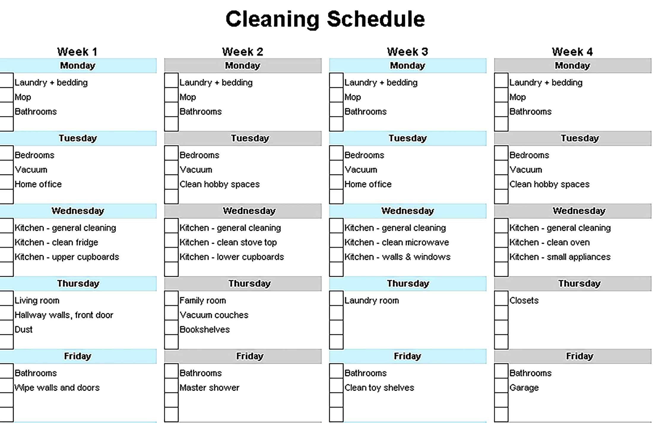 001 Simple House Cleaning Schedule Template Excel Highest Quality Full