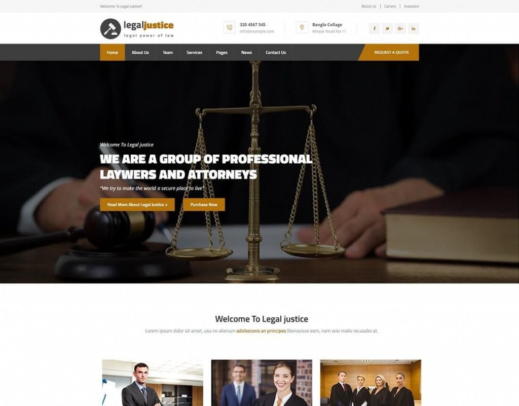 001 Simple Law Firm Website Template Free Highest Quality  WordpresLarge
