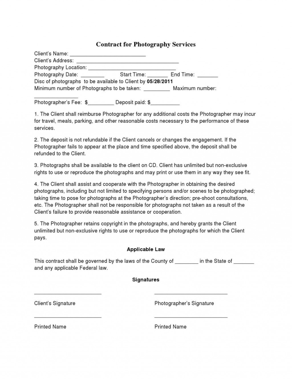 001 Simple Photography Contract Template Pdf High Definition  Free PortraitLarge