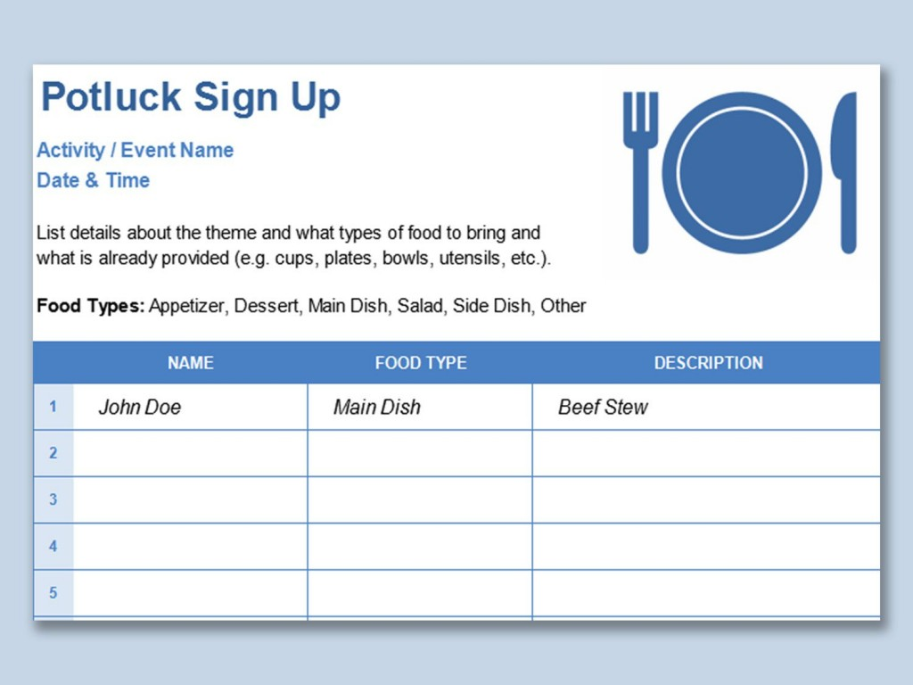 001 Simple Potluck Signup Sheet Template Word Image  Sign Up Free Holiday PrintableLarge
