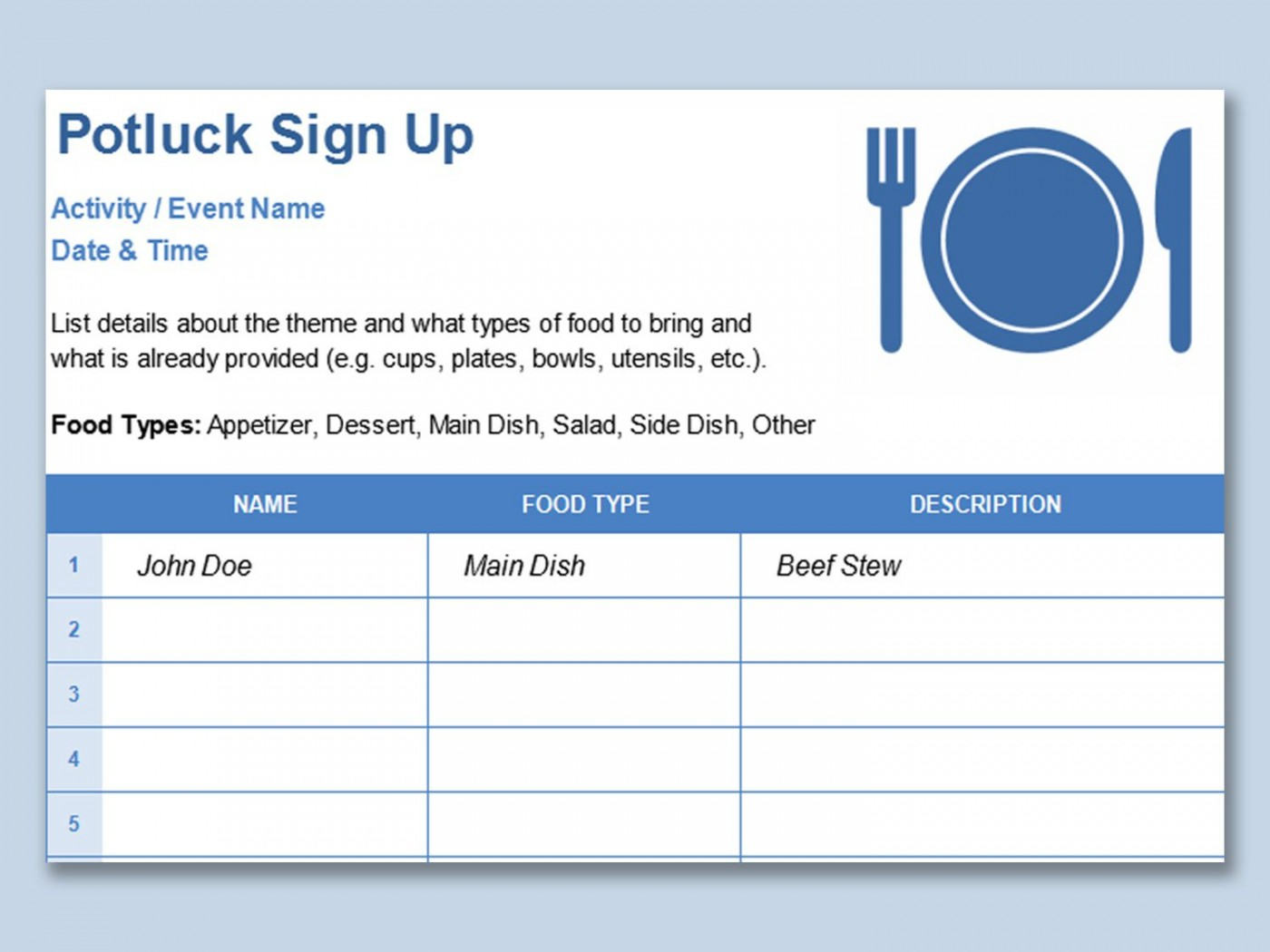 001 Simple Potluck Signup Sheet Template Word Image  Sign Up Free Holiday Printable1400