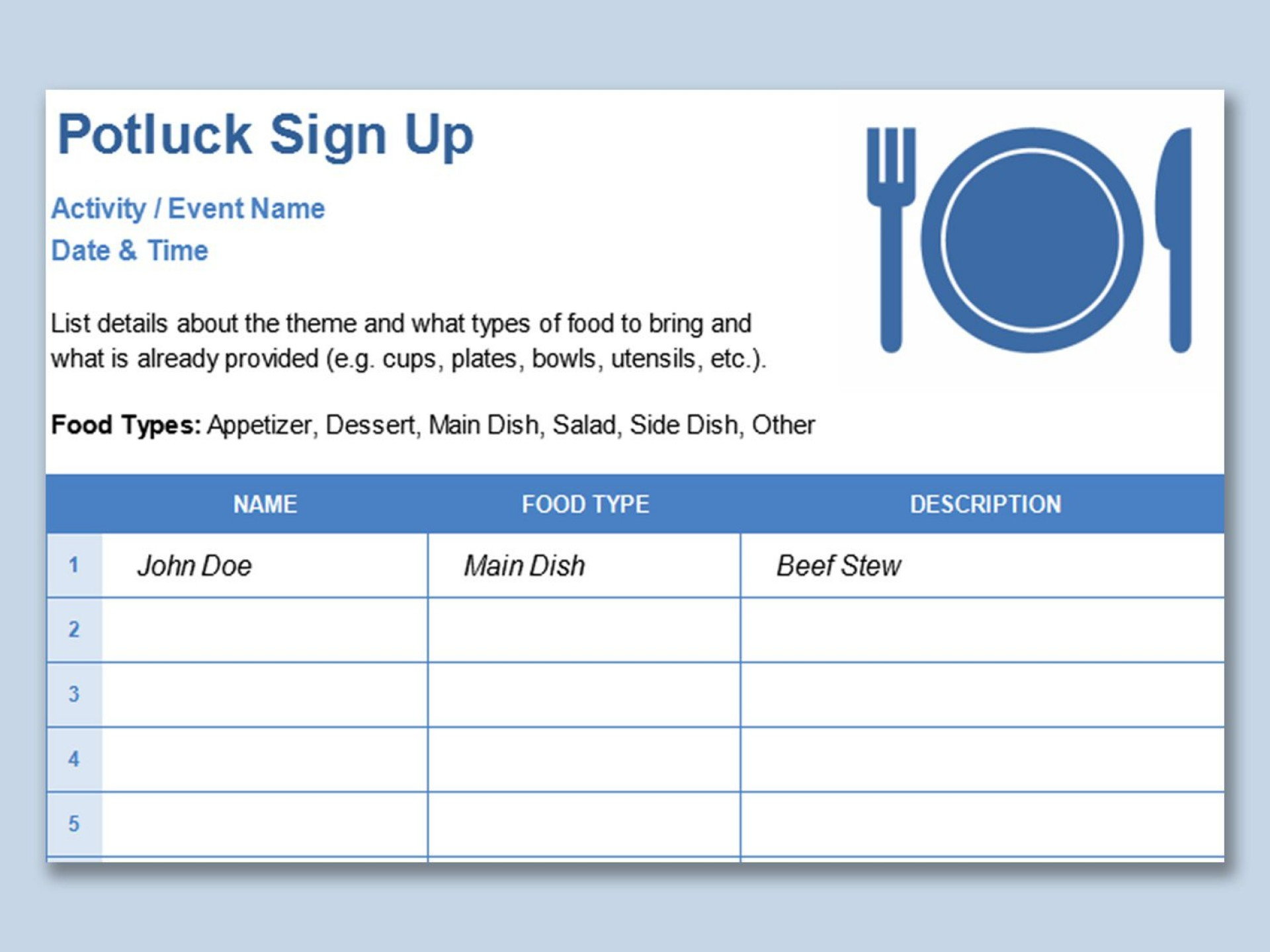 001 Simple Potluck Signup Sheet Template Word Image  Sign Up Free Holiday Printable1920