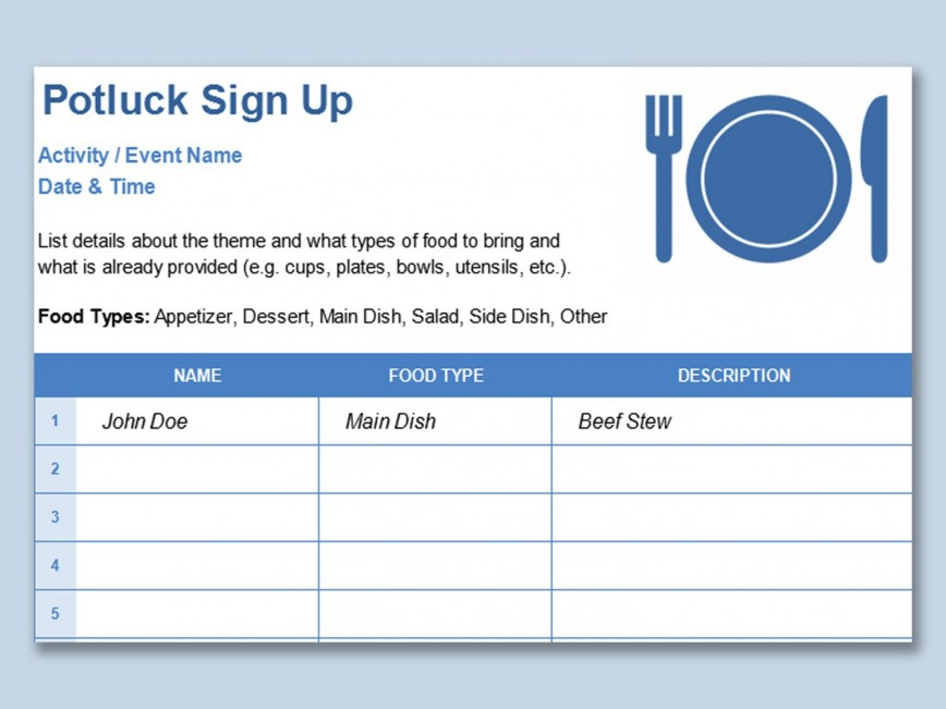 001 Simple Potluck Signup Sheet Template Word Image  Free Printable Christma Sign Up Holiday868