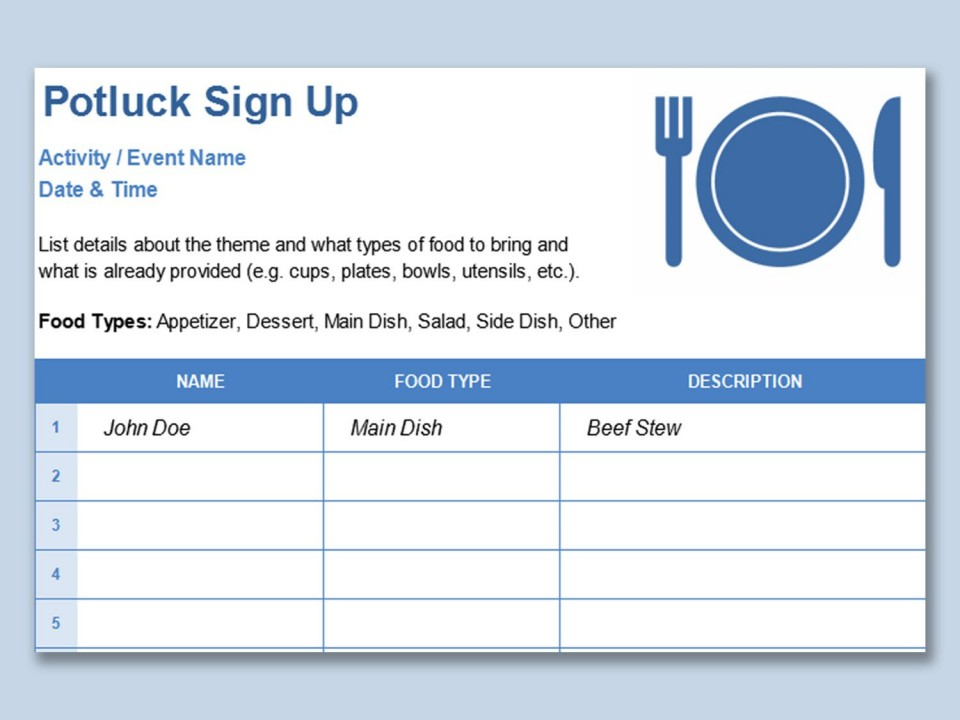 001 Simple Potluck Signup Sheet Template Word Image  Sign Up Free Holiday Printable960