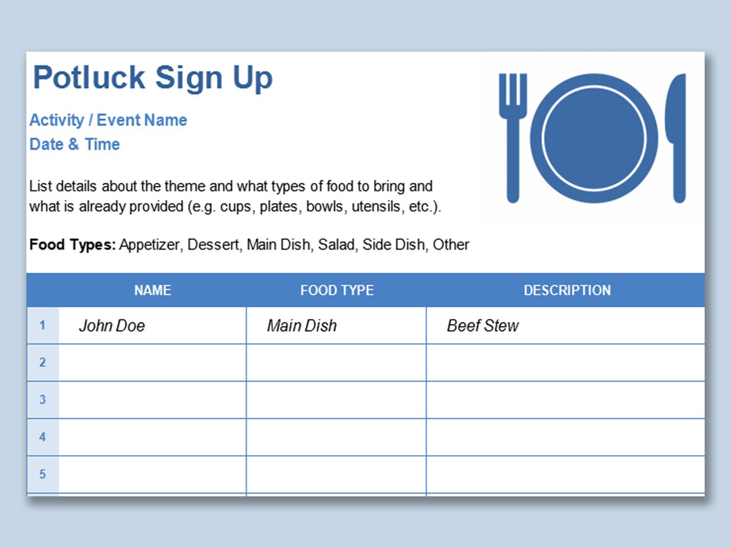 001 Simple Potluck Signup Sheet Template Word Image  Sign Up Free Holiday PrintableFull