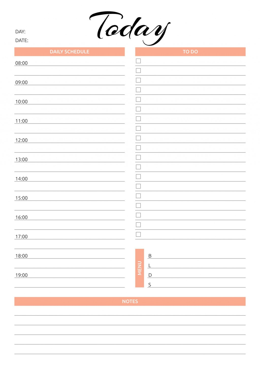 001 Simple Printable Daily Schedule Template High Resolution Large