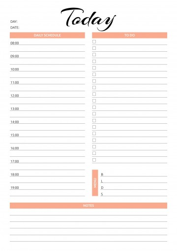001 Simple Printable Daily Schedule Template High Resolution 360