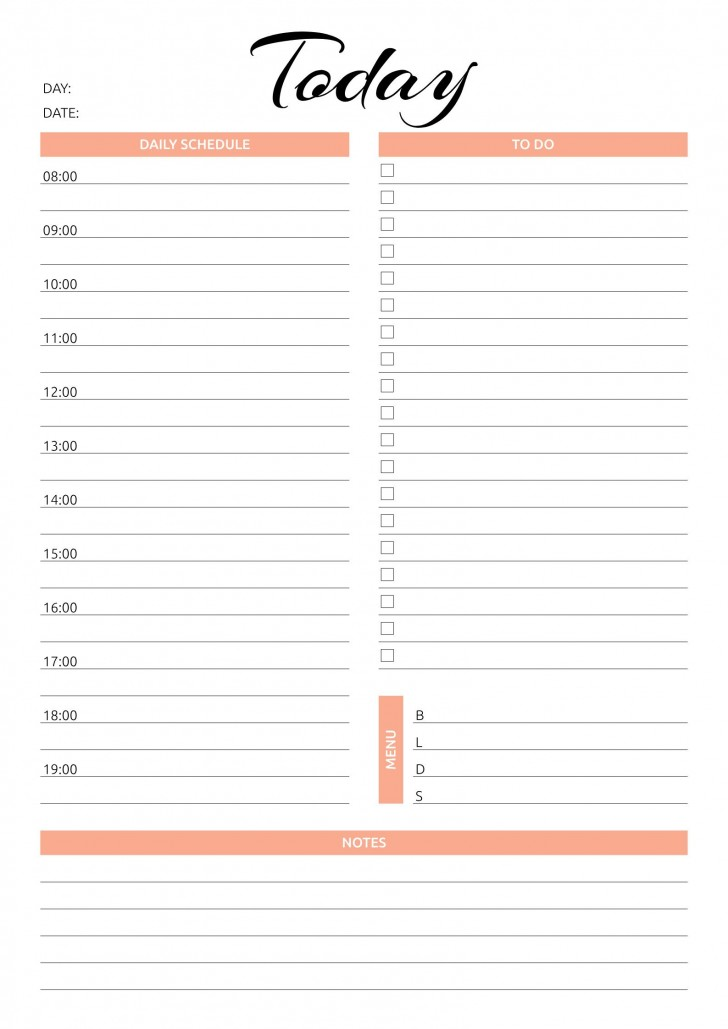 001 Simple Printable Daily Schedule Template High Resolution 728