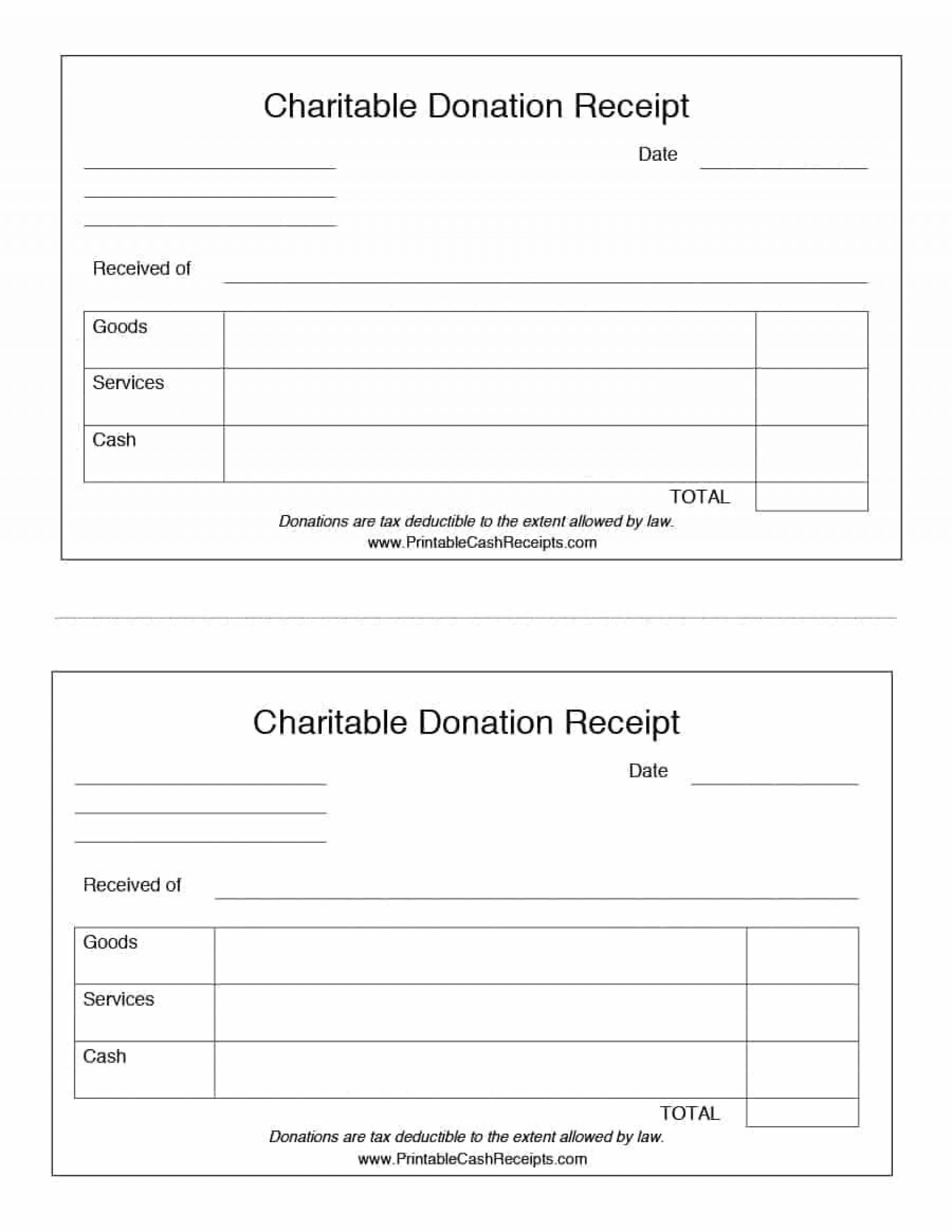 001 Simple Printable Donation Form Template Picture  Blank Receipt1920