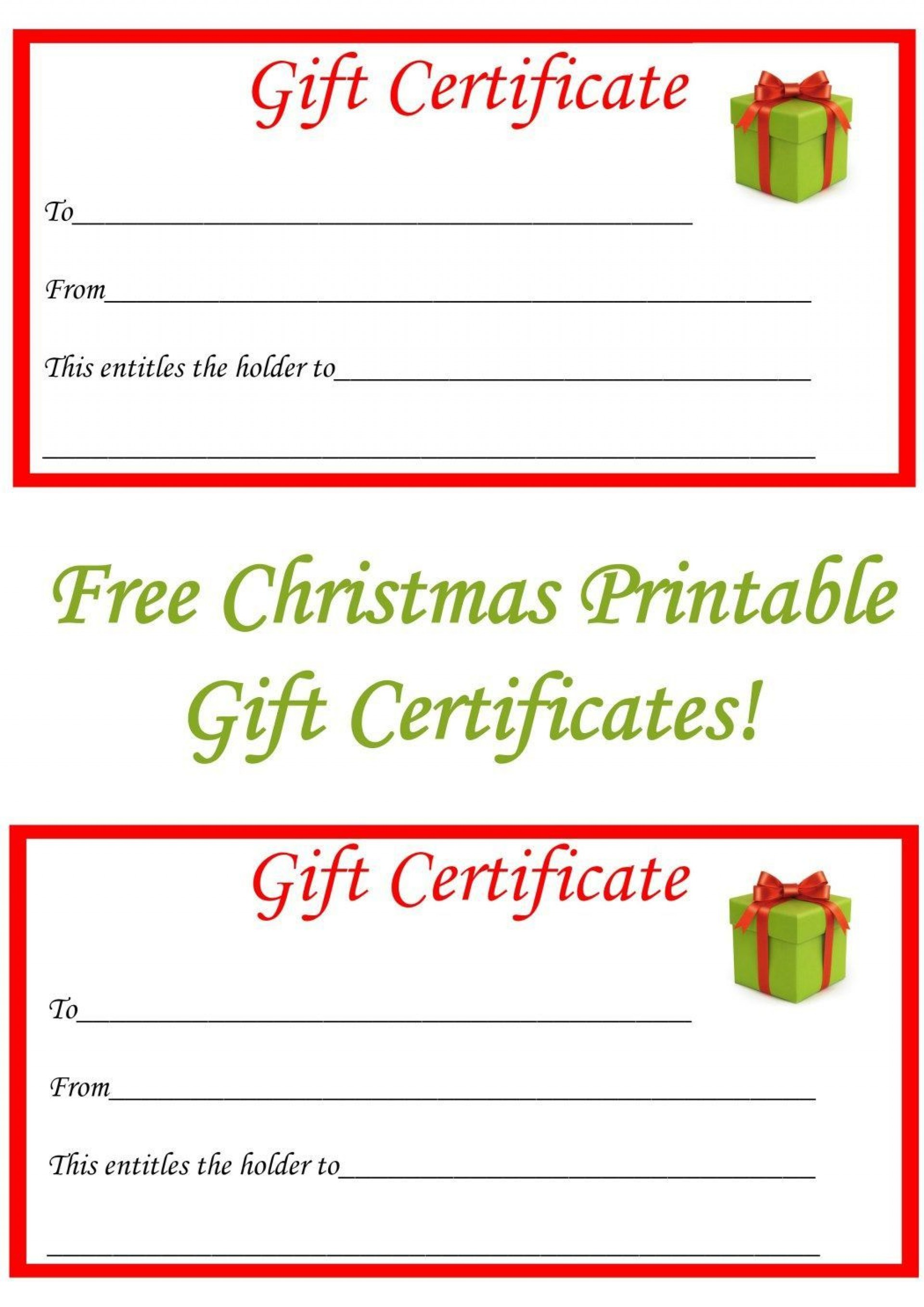 001 Simple Printable Gift Certificate Template Highest Quality  Card Free Christma Massage1920