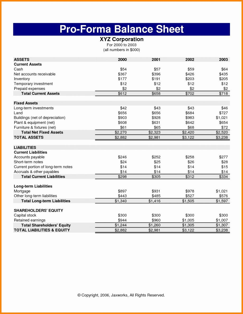 001 Simple Pro Forma Financial Statement Template High Resolution  Format SampleLarge