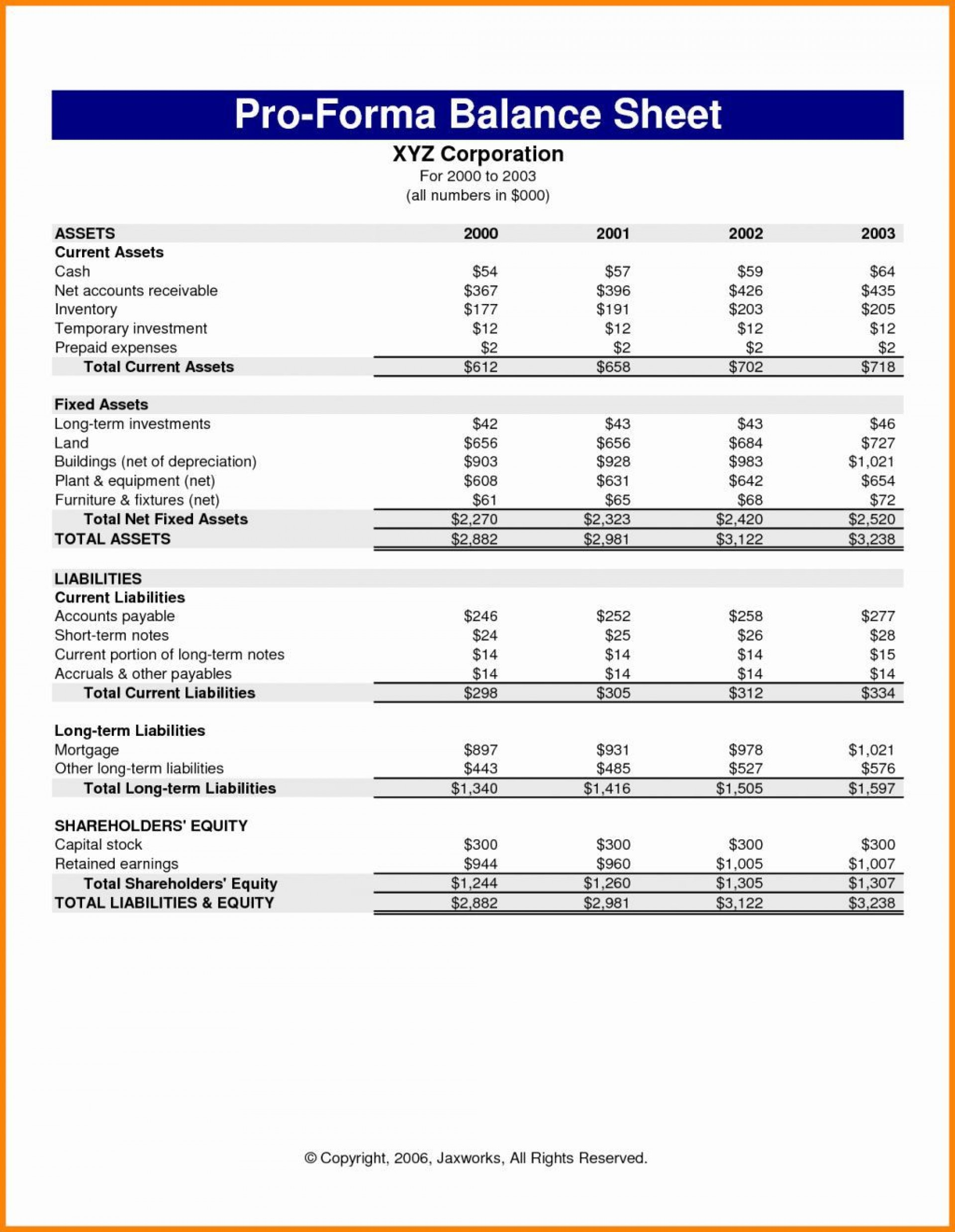 001 Simple Pro Forma Financial Statement Template High Resolution  Format Sample1920