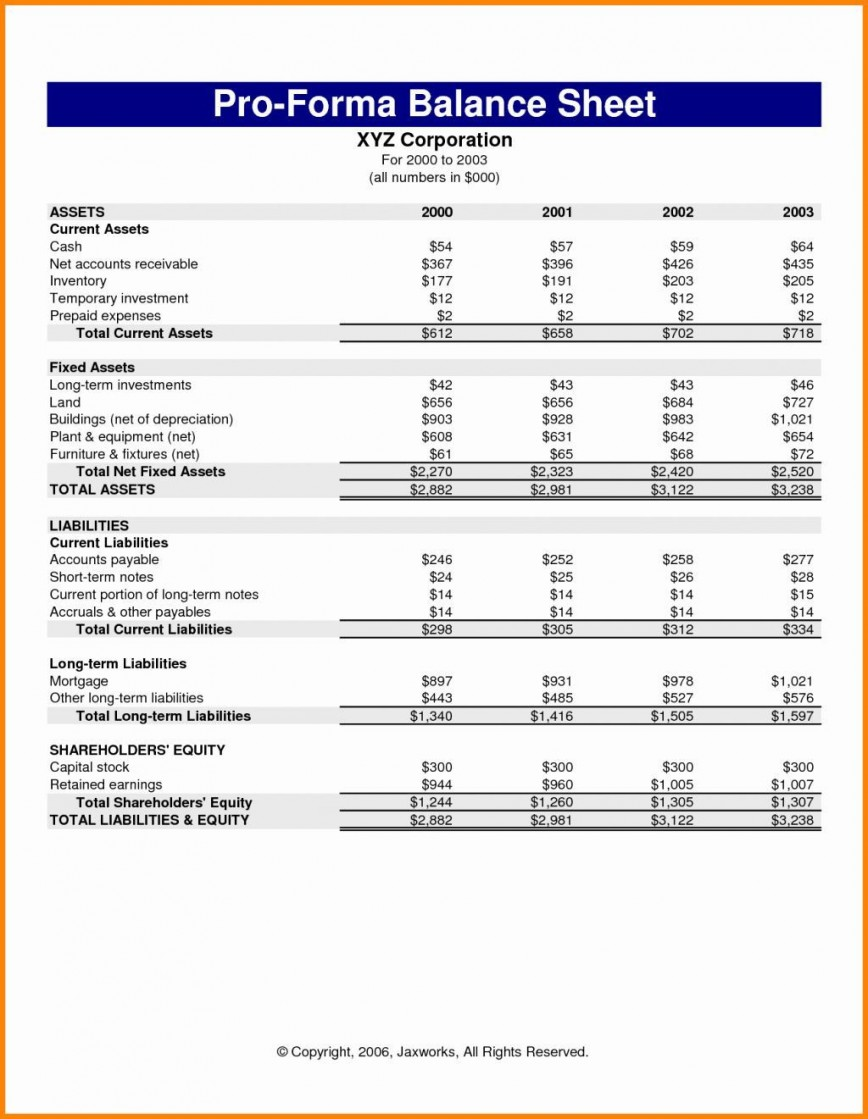 001 Simple Pro Forma Financial Statement Template High Resolution  Free Sample Excel