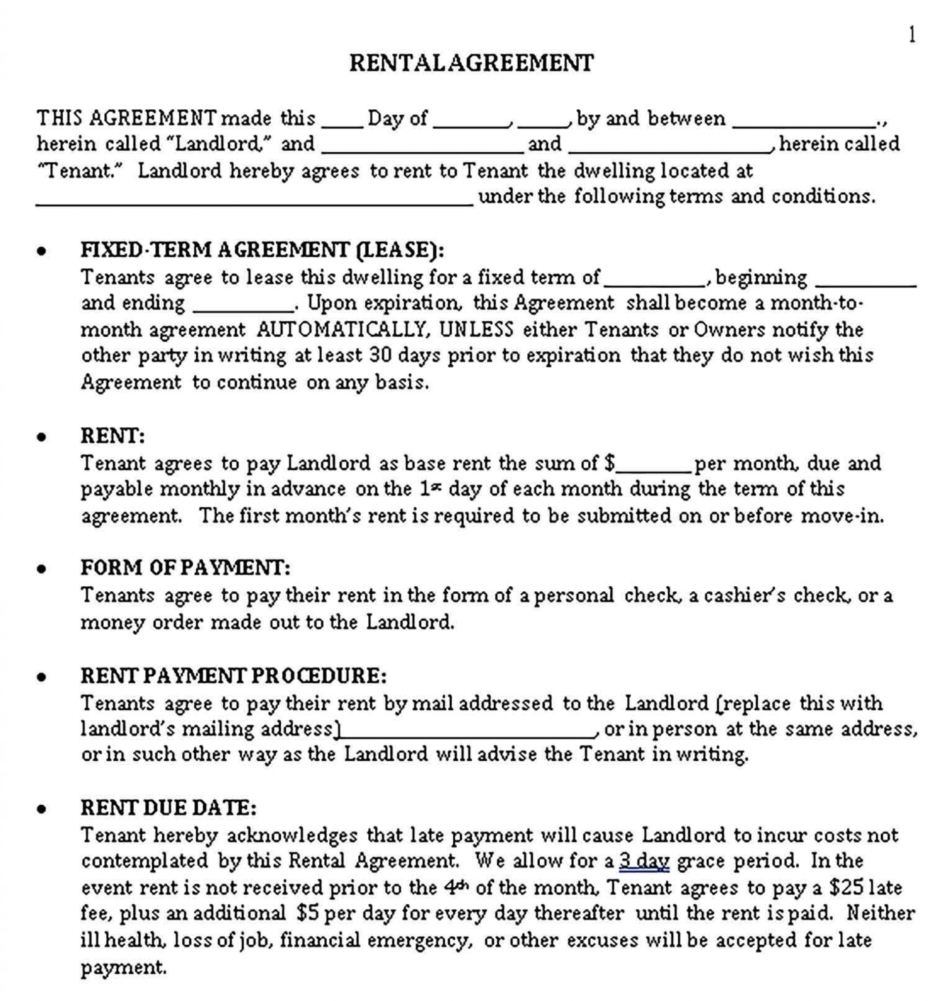 001 Simple Sample House Rental Agreement Template High Resolution  Contract Lease1920