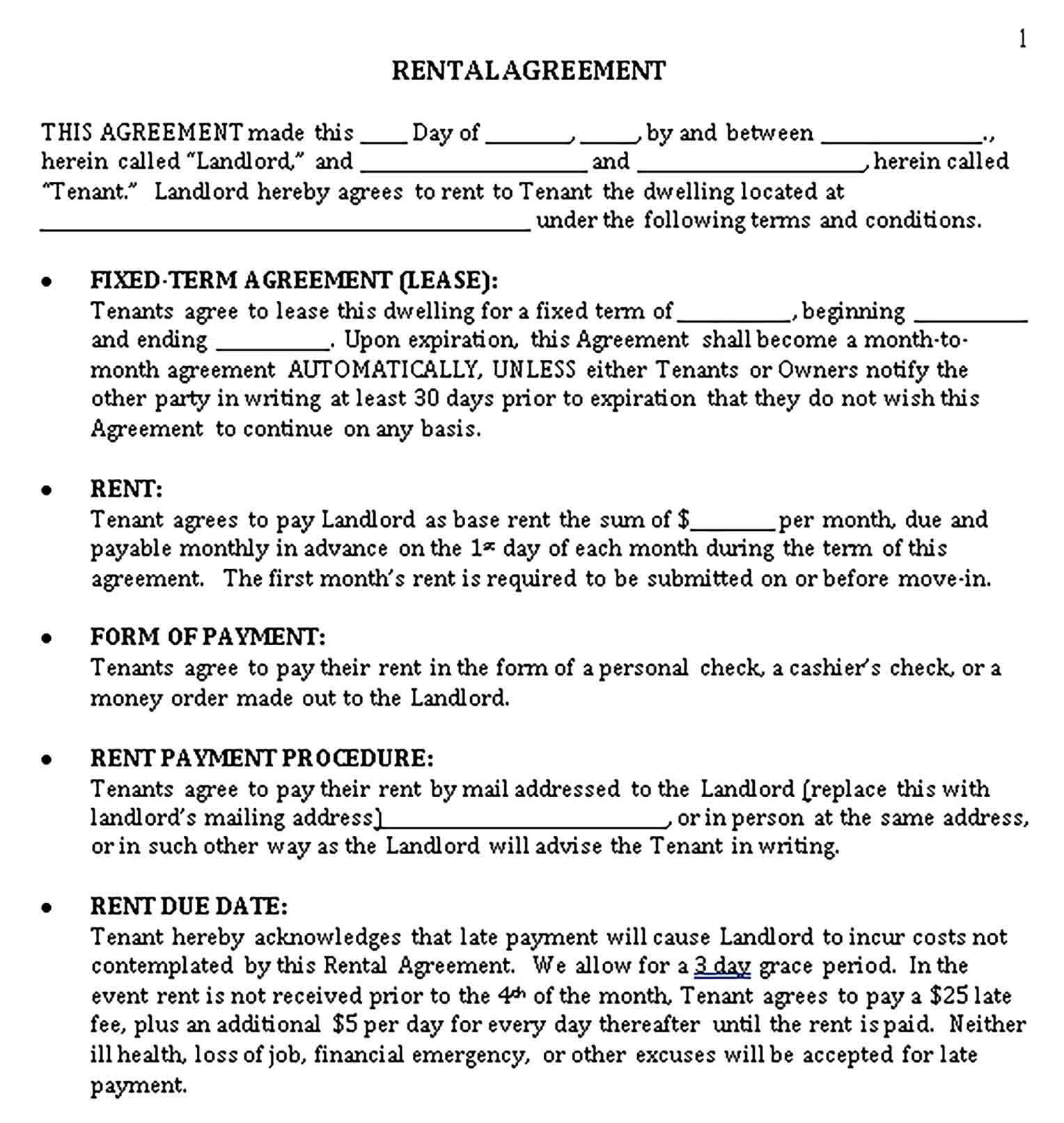 001 Simple Sample House Rental Agreement Template High Resolution  Contract LeaseFull